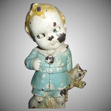 Adorable Googly Eyed Boy Holding His Teddy Bear Doll Cast Iron Doorstop