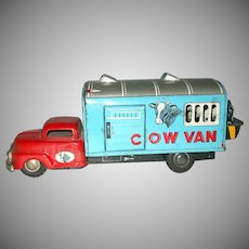 Vintage Tin Friction Toy Made In Japan Cow Van Cows Rotate In And Out