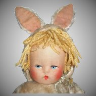 Sweet Little Cloth Doll Dressed As A Bunny Rabbit