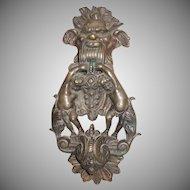Unique And Rare Brass Massive Doorknocker Gothic Man's Face With Cherubs