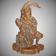 DOUBLE CASTING Not Your Every Day Punch And Judy And Toby The Dog Doorstop Bronze