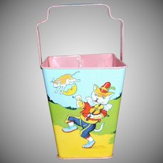 J Chein & Co Sand Pail Nursery Rhymes Fairy Tales Cat And Fiddle, Cow Jumped Over The Moon...Humpty Dumpty....Mother Goose Doll Display