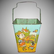 Very Rare J Chein Bonzo Dog And Oolo The Cat Different Scenes Sand Pail