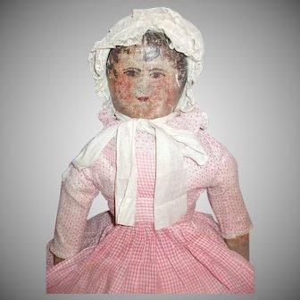 Fabulous Primitive Folk Art Oil Painted Cloth Rag Doll