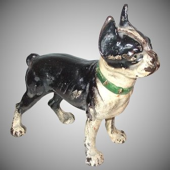 Rare Front Facing Boston Terrier Dog Cast Iron Doorstop