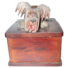 Unique And Fabulous Skye Terrier Dog Mechanical Bobble Head Wooden Box