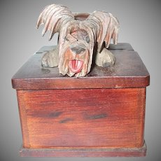 Unique And Fabulous Skye Terrier Dog Mechanical Bobble Head Wooden Box