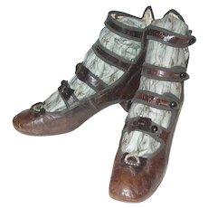 Beautiful Antique Little Girls 4 Strap Shoes
