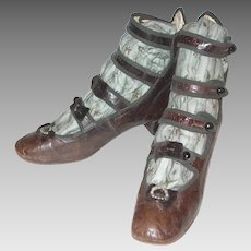 Beautiful Antique Little Girls 4 Strap Shoes