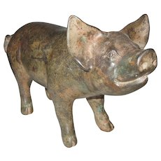 Adorable Old Bronze Pig Statuette Doorstop