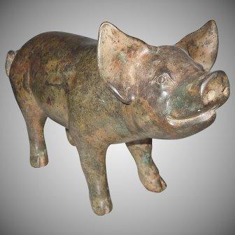 Adorable Old Bronze Pig Statuette Doorstop