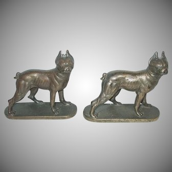 Darling Little Boston Terrier Dog Cast Iron Bookends
