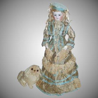 Old Beautiful Mohair Pekingese Dog For French Fashion Dolls