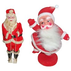 Two Vintage Santa Claus Figurines One Skiing