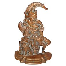 Antique Not Your Every Day Punch And Judy And Toby The Dog Doorstop Bronze DOUBLE CASTING