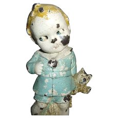 Adorable Googly Eyed Boy Holding His Teddy Bear Doll Cast Iron Doorstop