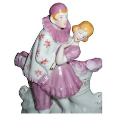 Darling Pierrot and Pierrette Figurines Vase Or Holder By Gold Castle