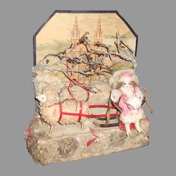 Wonderful Parlor Glass Domed Box With Wintry Scene Doll On Sled Being Pulled By Sheep