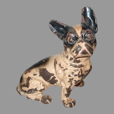 Sitting Boston Terrier Dog Or French Bulldog Cast Iron Doorstop