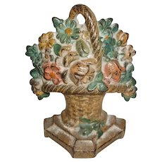 Sweet Cast Iron Basket Of Flowers Doorstop