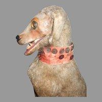 Antique Victorian Era Paper Mache Pullstring Nodder Head / Automation Dog