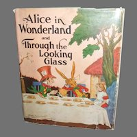 Delightful 1937 Vintage Alice In Wonderland And Through The Looking Glass Book With Dust Jacket