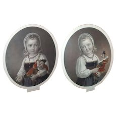 """Fabulous Framed Pair Colored Engravings Little Girl With Polichinelle Doll """"Joy"""" And """"Sorrow"""""""