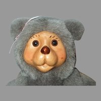 Robert Raikes Hand Carved Alison Bear Doll With Cradle And Original Box