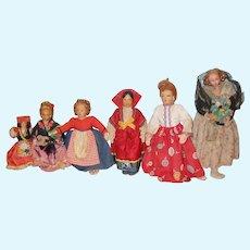 Sweet Set Of Six International Tourist Dolls