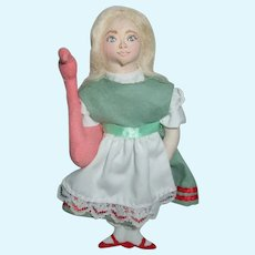 "Gladys Boalt ""Alice In Wonderland"" Doll Ornament 1980 Signed"