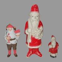 Adorable Three Vintage Santa Claus Dolls