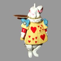 Original Miniature Hantel Pewter White Rabbit From Alice In Wonderland