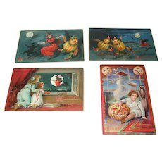 Four Antique Halloween Cards By Tuck And Nash