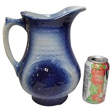 Vintage A. E. Hull Stoneware Fishscale and Wild Roses Large Pitcher - Jug