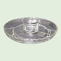 Vintage Three Part Elegant Glass Relish Dish With Attached Dip Cup