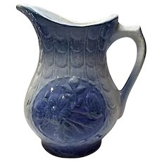 "Blue and White - Vintage - 7"" Hull Stoneware Fishscale and Roses - Hot Water Pitcher Jug"