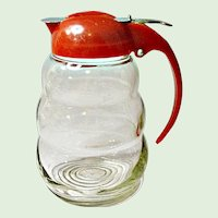 Vintage Glass Syrup or Honey Dispenser - Made In USA - Restaurant Style 50's-  60's