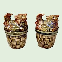 Hen On A Nest Pottery Salt and Pepper Shaker Set