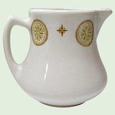 Vintage Cream Pitcher Shenango Restaurant Ware Gold Medallion and Star