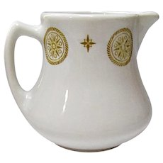 Vintage Shenango Restaurant Ware Gold Medallion and Star Cream Pitcher