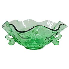"Very Vintage Fenton Diamond Optic Elegant 9"" Dolphin Bowl"