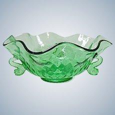 """Very Vintage Fenton Diamond Optic Elegant 9"""" Dolphin Bowl"""