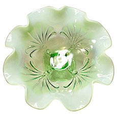Jefferson Beaded Fans Light Green Opalescent Bowl
