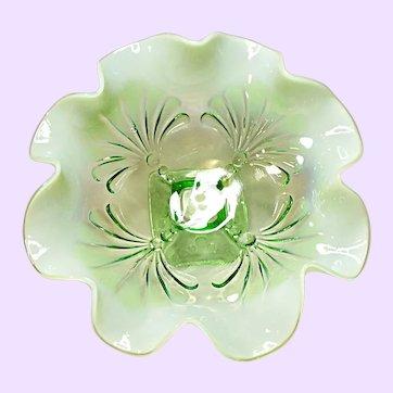 Jefferson Beaded Fans Light Green Opalescent Bowl