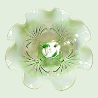Jefferson Glass Beaded Fans Light Green Opalescent Bowl