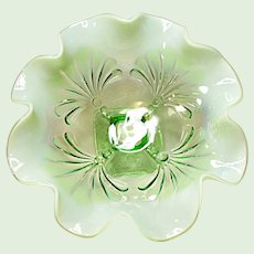 Jefferson Glass Beaded Fans Light Green Opalescent Bowl