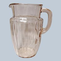 Depression Era Pink Anchor Hocking Pillar Optic Pitcher