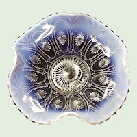 """Northwood Crystal Opalescent Spokes and Wheels 8"""" Bowl"""