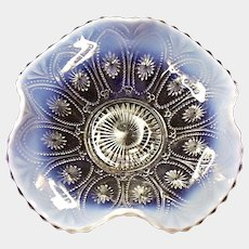 "Northwood Crystal Opalescent Spokes and Wheels 8"" Bowl"