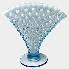 "Big One - 8"" Vintage Fenton Blue Opalescent Hobnail Fan Vase"